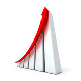 Success business graph with rising up arrow. 3d render illustration Royalty Free Stock Photos