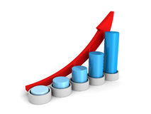 Success business growing blue bar chart graph with arrow. 3d render illustration Royalty Free Stock Photos