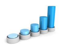 Success business growing blue bar chart graph. 3d render illustration Stock Photo