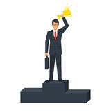 Success business leader concept. Businessman on winners podium with gold victorious cup. Leadership first place. Vector illustration flat design.  on white Royalty Free Stock Photography