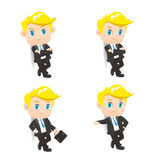 Success Business man lean something. Cartoon illustration set of Success Business man lean something Royalty Free Stock Image