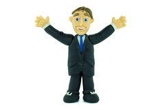 Success Business man smiling in plasticine Royalty Free Stock Image