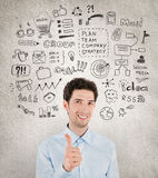 Success business management. Concept image of successful handsome businessman with lot of hand drawn icons around which symbolizing success work, planning Stock Photos