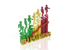 Success. In business - mans and graph on white Stock Photography