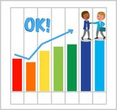 Happy managers with good bar chart Royalty Free Stock Photography