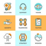 Success business metaphors line icons set. Line icons set with flat design elements of success business metaphor, marketing vision, customer support, idea Royalty Free Stock Photography