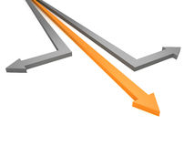Success business motion. orange and gray arrows. 3d Stock Photo