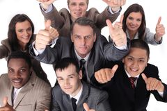 Multicultural business team with thumbs up Royalty Free Stock Photo
