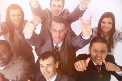 Multicultural business team with thumbs up Royalty Free Stock Images
