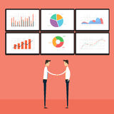 Success business people on business graph monitor. Business  people on graph marketing monitor  technology  concept Royalty Free Stock Images