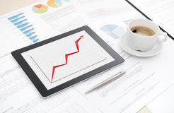 Success business report on apple ipad Stock Photos