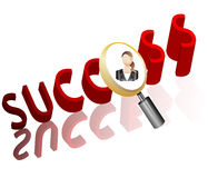 Success business search Employee Icon. For Recruitment Agency Magnifier with Businesswoman  illustration Royalty Free Stock Photo