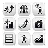 Success in business, self development buttons set Royalty Free Stock Images