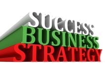 Success business strategy text on white. 3d Royalty Free Stock Photo