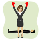 Success business woman cheering with raised arms wearing boxing gloves in front of man lying on floor vector illustration