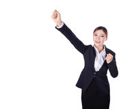 Success business woman keeping arms raised isolated on white Stock Photography