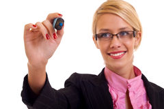 Success business woman with marker Stock Photo