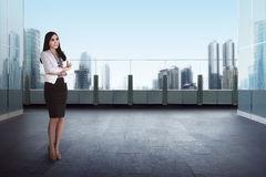 Success business woman standing rooftop Stock Images