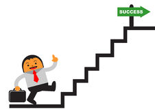 Success businessman. Illustration of cartoon character businessman explore his career Stock Photo