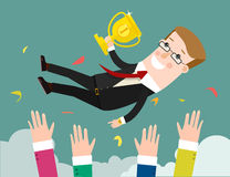Success. businessman being thrown in the air. Flat design illustration Royalty Free Stock Photos