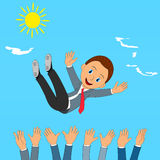 Success. businessman being thrown in the air Stock Photography