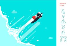 Success businessman is flying on the rocket. Success in business. Icot. Start up. Businessman is flying on the rocket up in the cosmos.. Eps 10 vector illustration