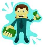 Success Businessman Giving Money. Cartoon. Vector Illustration Stock Image