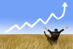 Success businessman and growth graph cloud Stock Images