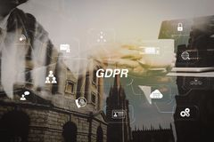 Success businessman hand using smart phone,digital tablet dockin. GDPR. Data Protection Regulation with Cyber security and privacy virtual diagram.Double Stock Images