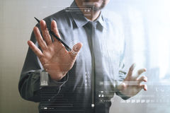 success businessman open his hand,front view,filter effec Royalty Free Stock Photography