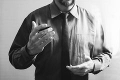 success businessman open his hand,working touch screen computer, Stock Photos
