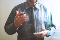 success businessman open his hand,working touch screen computer, Royalty Free Stock Image