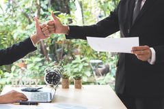 Success businessman partners making fist bump and thump up showi Stock Photography