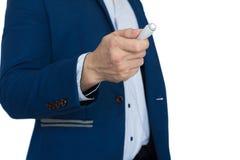 Success businessman pointer presentation. Businessman pointer presentation isolate white background stock image