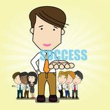 Success businessman. Set of success businessman and many gestures. Funny vector concept Stock Photo