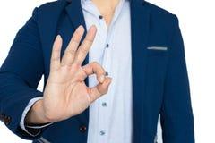 Success businessman show OK sign. Isolate white background Stock Photo