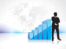 Success businessman silhouette. 3d graph showing rise in profits or earnings with silhouetted of standing businessman. vector illustration Stock Photo