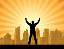 Success businessman standing on top of a building Royalty Free Stock Photography