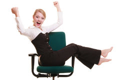Success. Businesswoman celebrating promotion. Royalty Free Stock Images