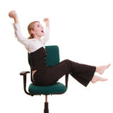 Success. Businesswoman celebrating promotion. Royalty Free Stock Photography