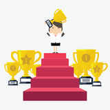 Success businesswoman character standing in a podium holding up a trophy vector illustration