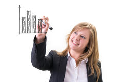 Success businesswoman drawing business icon and chart Royalty Free Stock Photography