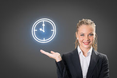 Success businesswoman showing business icon and chart Stock Image