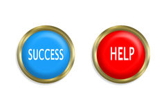 Success button and Help button Royalty Free Stock Photography