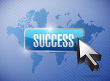 Success button over a world map background Stock Images