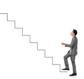 Success career. Young man climbs the stairway of success Stock Images