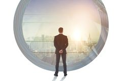 Success and career concept. Businessman in abstract office interior with city view. Double exposure Stock Photography