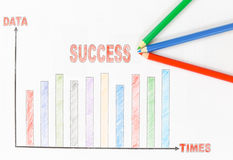 Success chart for business. Success chart and pencil of business Stock Image
