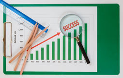 Success chart for business. Success chart and pencil of business Stock Images