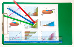 Success chart for business. Success chart and pencil of business Royalty Free Stock Images